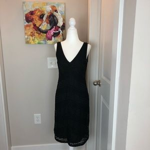 0218 Adriana Papell black beaded dress 6P
